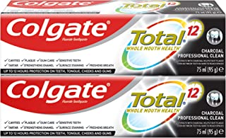 Colgate Total 12 Hour Protection Charcoal Deep Clean Toothpaste, 2 x 75 ml