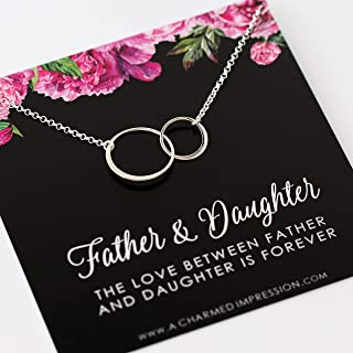 Father and Daughter Gift • Sterling Silver Necklace • Daughter Jewelry Gifts • Gift for Daughter from Dad • Two Connected Circles • Bride Wedding Gift • In Memory of • Memorial Jewelry for Women Girls