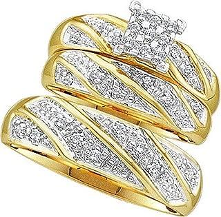 His and Her Trio Wedding set 0.30ctw diamond cluster trio set real Diamond Yellow-gold 10K Bride grooms (i2/i3, i/j)