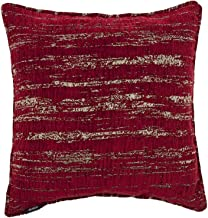 McAlister Textiles Textured Chenille Pillow Case | Red Metalic Striped Pattern Decorative Throw Scatter Sofa Cushion Sham | Size - 16 x 16 Inches