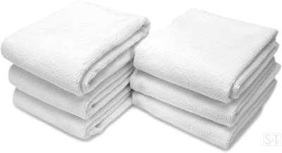 S&T INC. Microfiber Fitness Exercise Gym Towels, 360 GSM, 6 Pack, 16-Inch x 27-Inch