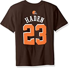 NFL Boys 4-7 Joe Haden Cleveland Browns Boys -Mainliner Player Name Short sleeve Tee, Brown Suede, L(7)