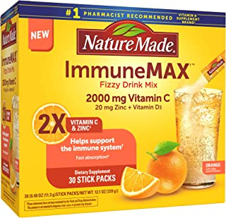 Nature Made ImmuneMAX Fizzy Drink Mix, with Vitamin C, Vitamin D, and Zinc Supplement for Immune Support, Fast Absorption, 30 Stick Packs