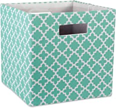 """DII Hard Sided Collapsible Fabric Storage Container for Nursery, Offices, & Home Organization, (13x13x13"""") - Lattice Aqua"""