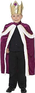 Smiffy Kiddy King/Queen Costume, Multi Colour, 35959L, Kiddy King/Queen Costume, Purple with Robe & Crown, L Age 10 12Y,W2...