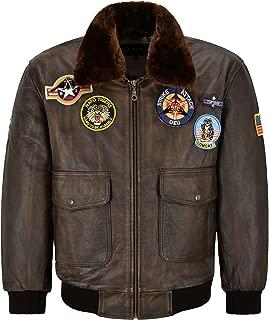 Men Bomber Leather Jacket Brown Fur Collar Harrington Cow Leather Aviator Jacket LLD 2000
