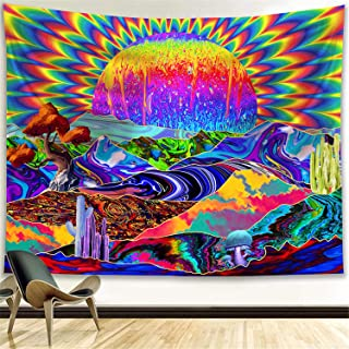 Funeon Trippy Tapestry Psychedelic Colorful Sun Mountain Mushroom Tapestry Wall Hanging Bedroom Decor Cool Hippie Tapistry...