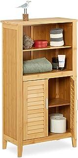 Relaxdays Armoire 2 portes en lames ajourées LAMELL salle de bain Étagère couloir bambou Table de téléphone 92 x 50 x 25 c...