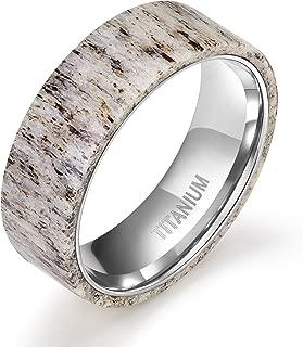 8mm Titanium Ring Deer Antler Band Men's Wedding Band Size 7-12