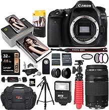 Canon EOS 80D DSLR Camera, Kodak Print Dock with Paper, EF 75-300mm III Telephoto Lens, Tripod, Lexar 32GB U3 Memory Card Bundle