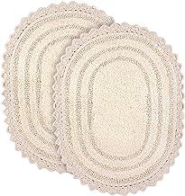 Soft Cotton Oval Crochet Set of 2 Bath Rug - Mats for Bathroom, Shower, Bath Tub, Sink, Toilet - 17x24 inches - Ivory