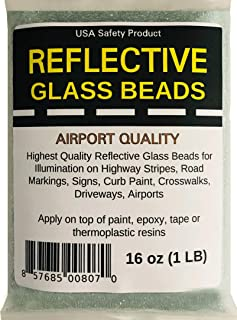 Reflective Glass Beads (1 LB Bag) | for Road Marking, Curb Paint, Traffic Paint, Pavement Striping, Parking Lots, Crosswalks, Driveways, Airports, Traffic Signs, Painting, Arts & Crafts