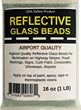 Reflective Glass Beads (1 LB Bag)   for Road Marking, Curb Paint, Traffic Paint, Pavement Striping, Parking Lots, Crosswalks, Driveways, Airports, Traffic Signs, Painting, Arts & Crafts