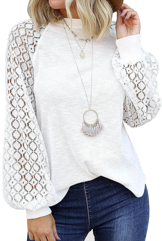 Cucuchy Womens Long Sleeve Shirts Cut Balloon Lace Casual Year-end annual account Cheap bargain