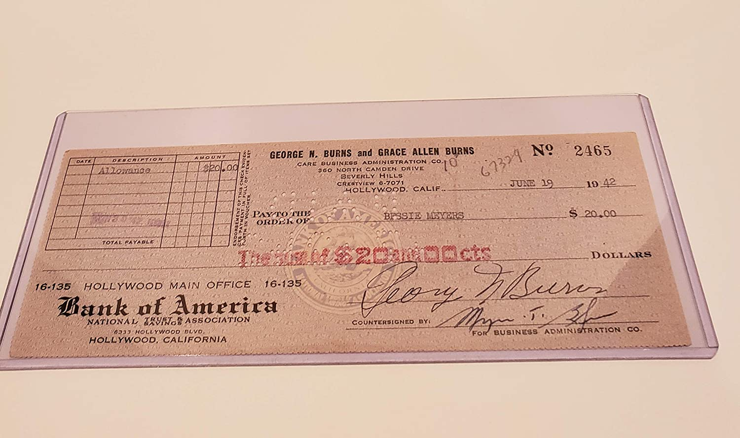 GEORGE BURNS Price reduction SIGNED PERSONAL San Diego Mall CHECK #2465