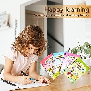 4PCS Reusable Sank Magic Practice Copybook - Handwriting Workbook with Drawing Pens for Preschoolers, Writing Practice Boo...