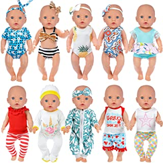 ZITA ELEMENT 10 Sets 14-16 Inch Baby Doll Clothes Outfits with Swimsuits Jumpsuits Fits 15 Inch...