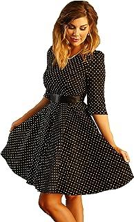 Charm Your Prince Women's Black 1950's Polka Dot Rockabilly Swing Pinup Vintage Dress