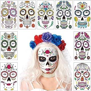 9 Sheets Halloween Temporary Face Tattoo Sticker Day of The Dead Skull Roses Sugar Design Mask Floral Festival Skeleton De...
