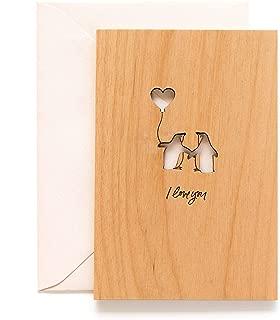 Penguin Love Laser Cut Wood Card (Valentine's Day/Love/Anniversary/Boyfriend or Girlfriend)