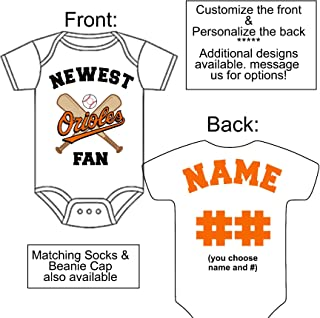 Personalized Custom Made Newest Orioles Fan Baseball Gerber Onesie Jersey - Baby Announcement Reveal or Shower Gift