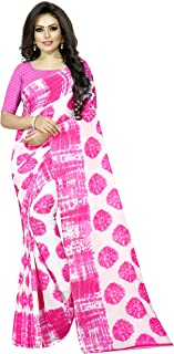 Pink Tie n Dye Georgette Saree Indian Yellow Traditional Bollywood Ethnic Sari Unstitched Blouse