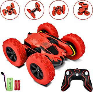 Rainbrace Remote Control Car for Boys Girls 4WDRC Stunt Car Double Sided 360°Rotating Remote Control Truck Off Road Hobby Crawler 2.4Ghz High Speed Racing Car Toys for Boys Girls Kids Adults Red