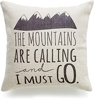 Hofdeco Decorative Throw Pillow Cover HEAVY WEIGHT Cotton Linen Quotes and Sayings the Mountains are Calling and I Must Go Script 18
