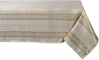 DII CAMZ10899 Square Table Topper, Perfect for Dinner Parties, Christmas, Holidays & Thanksgiving, 52x52, Cream Metallic Plaid