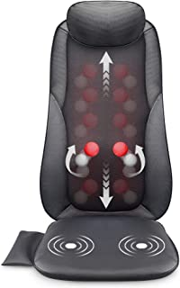 Snailax Shiatsu Massage Seat Cushion – 2D/3D 2-in-1 Modes Back Massager with Heat,..