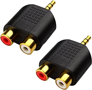 CERRXIAN LEMENG (2-Pack of) Gold Plated 3.5mm Stereo to 2-RCA Male to Female Adapter,Audio Splitter Adapter, Dual RCA Jack Adapter