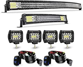 TURBO SII Led Light Bar Curved 52Inch Offroad Led Bar Triple Row+ 22Inch Curved Spot Flood Combo Light Bars + 4PCS 4