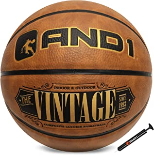 """AND1 Vintage Premium Composite Basketball & Pump- Official Size 7 (29.5"""") Streetball, Made for Indoor and Outdoor Basketball Games (Tan)"""