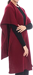 Bruceriver Women Knit Wool Feel Open Front Poncho Wrap Cardigan Sweater Topper