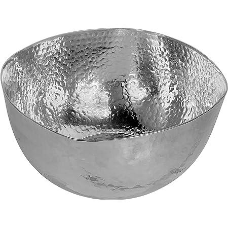 Amazon Com Kindwer Large Hammered Aluminum Petal Bowl 14 Inch Silver Kitchen Dining