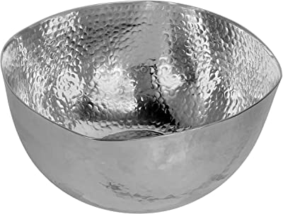 Sesgo Twisted Bowl Silver Aluminum Modern Home Decor Accent Serving Bowl For Fruit Nuts Popcorn And Chips Decoration Centerpiece For Coffee Table Or Change Dish And Key Holder 13 X 5