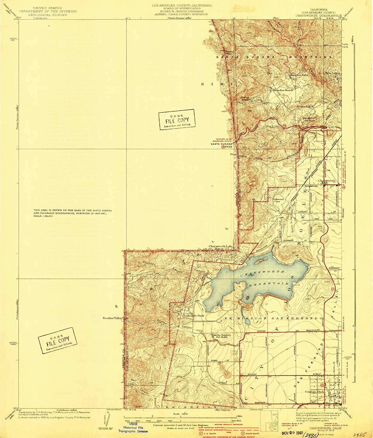 Chatsworth CA topo map, 1 24000 Scale, 7.5 X 7.5 Minute, Historical, 1940, 20.5 x 17.5 in