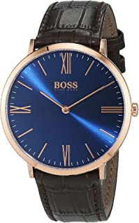 Hugo Boss Men's Blue Dial Leather Band Watch - 1513458, Brown Band, Analog Display