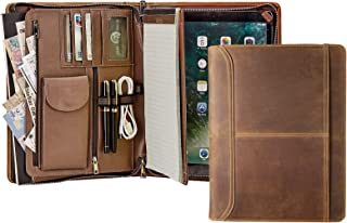 Handmade Retro Leather Portfolio, Professional Executive Padfolio Document Organizer with Letter Size/A4 Writing Pad Holder, Features Tablet Case Compatible with iPad Pro 12.9(2018)