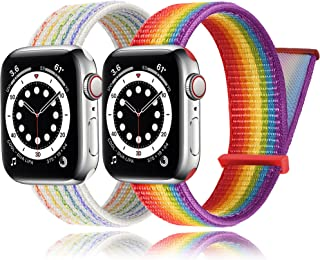 2Pack PROATL Adjustable Nylon Sport Loop Band Compatible with Apple Watch Band 38mm 40mm, Women Men Braided Weave Replacement Strap for iWatch Series 6 5 4 3 2 1 SE (Pride Edtion/Pride Edtion Nike)