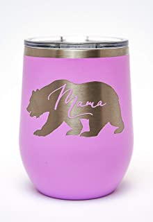 Mama Bear Laser Engraved 12oz Insulated Wine Tumbler with Lid (Light Purple)