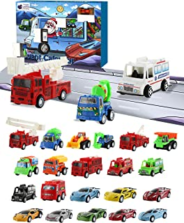 Purple Ladybug Novelty Car Stocking Stuffer Toy Cars 2019 Advent Calendar for Kids, with 24 Different Pull Back Vehicles Including Race Cars, Construction Vehicles! Perfect for Boys!