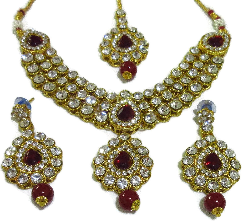 Indian Bollywood Traditional Bridal Maroon Kundan Party Fashion Jewelry Set