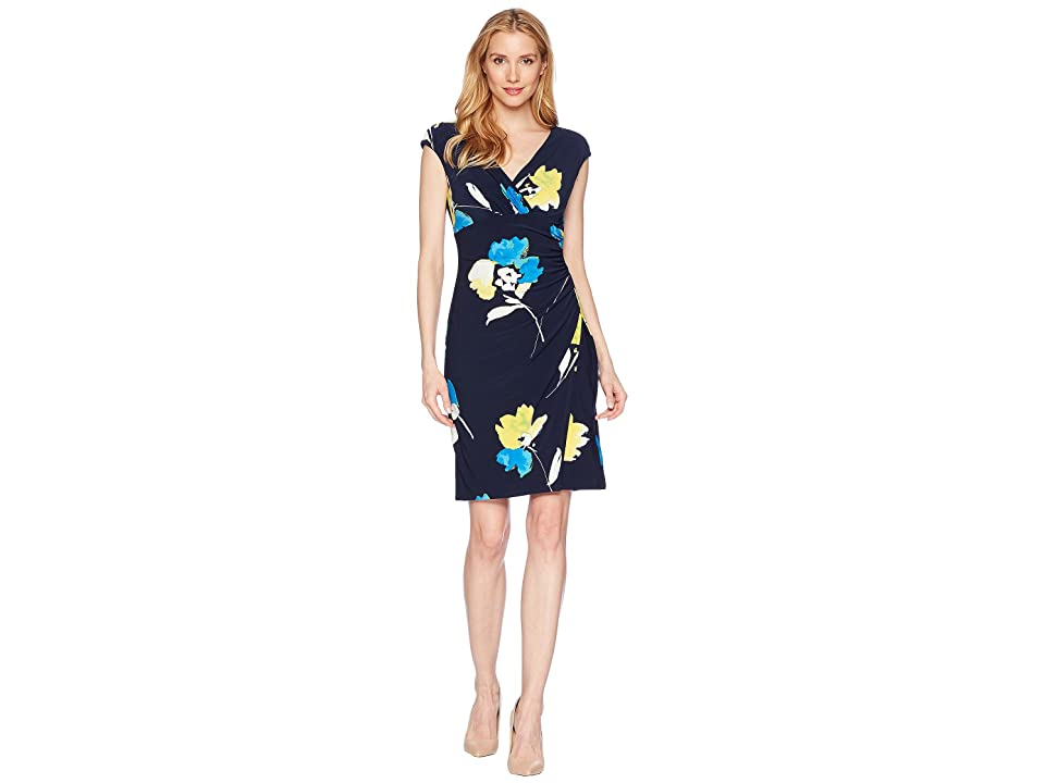 LAUREN Ralph Lauren Galleria Floral Matte Jersey Adara Dress (Lighthouse Navy/Tumeric/Multi) Women