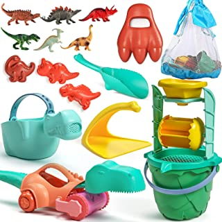 Tobeape Kids Beach Toys Set, Dinosaur Sand Toys for Toddlers, Kids Bucket and Shovel Set, Include Beach Bag, Sand Water Wh...