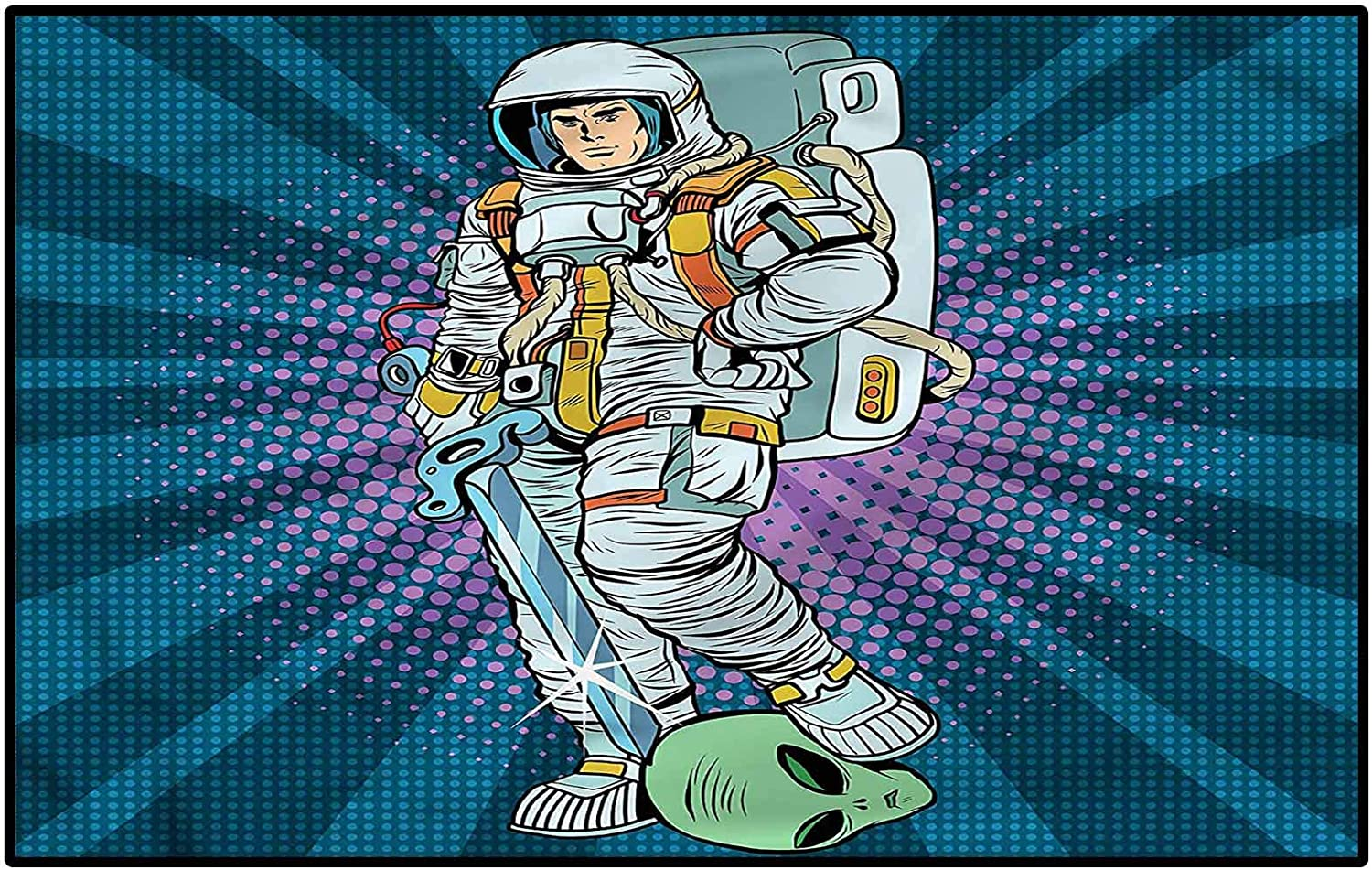 Astronaut Small Rugs playroom Rug Gorgeous Stair Galaxy Figure tre Import Design