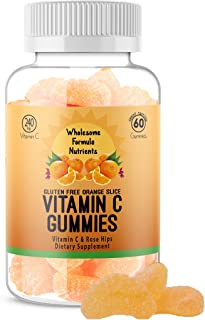 100% Natural 240 mg Vitamin C Gummies with 20 mg Rose Hips | Vegan, Gluten-Free, Great Tasting | Immune Support Booster fo...