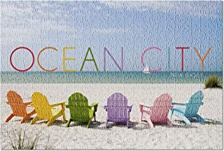 Lantern Press Ocean City, New Jersey - Colorful Beach Chairs 55747 (500 Piece Premium Jigsaw Puzzle for Adults and Family,...