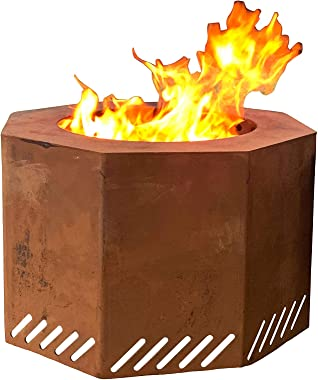 Titan Corten Steel Near Smokeless Wood Burning Backyard Fire Pit 16 in x 24 in