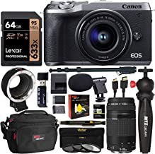 Canon EOS M6 Mark II (Silver) with Viewfinder and EF-M 15-45mm and 75-300mm III, EF-EOS M Lens Adapter, Lexar 64GB Video Memory Card, Tabletop Tripod, Camcorder Microphone, Monopod, Filter Kit Bundle
